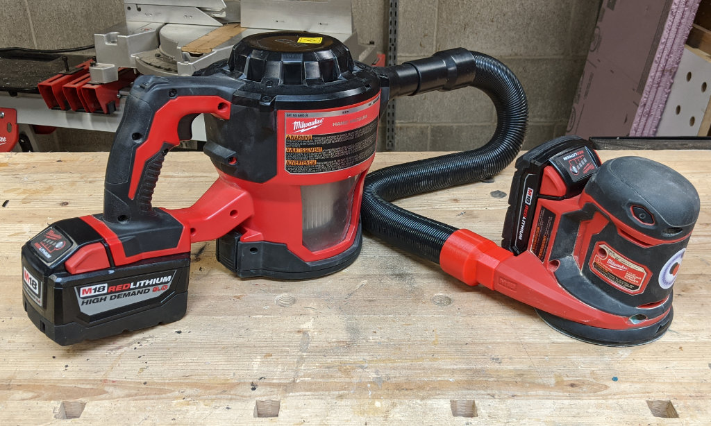Milwaukee M18 Random Orbital Sander Connected to Compact Vac with Direct Adapter
